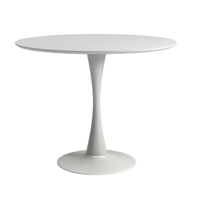 Cameron Modern 36 In. Round Dining Table With Tulip Style Base   White    Aeon