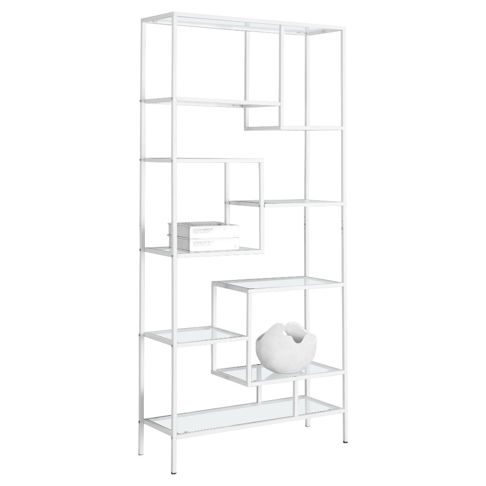 70 Bookcase with Tempered Glass- White Metal - EveryRoom
