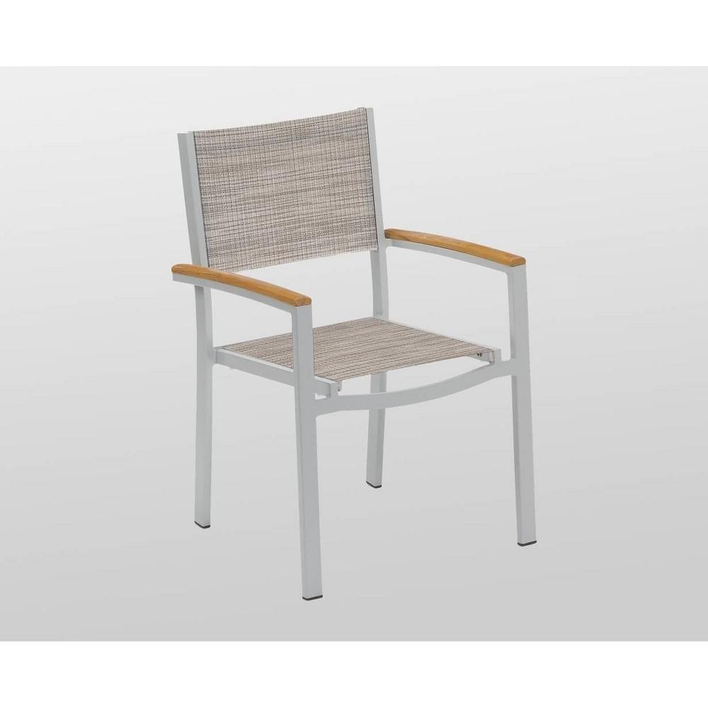 Travira 2pk Armchair with Powder Coated Aluminum Frame - Natural Teakwood - Oxford Garden