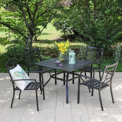 5pc Metal Indoor/Outdoor Square Dining Table with Arm Chairs & Umbrella Hole - Captiva Designs