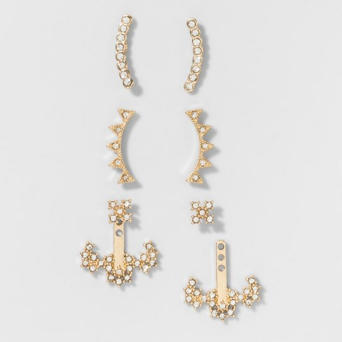SUGARFIX by BaubleBar™ Crystal Crawler and Jacket Earring Set of Three - Gold - image 1 of 2