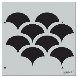 "Stencil1 Solid Scallop Repeating - Wall Stencil 11"" x 11"""