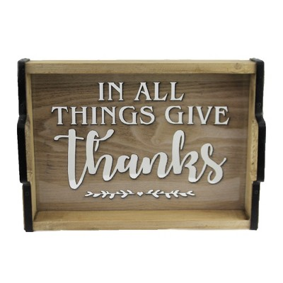 """Fall 12.0"""" Around The Table Tray Give Thanks Gathered  -  Decorative Trays And Platters"""