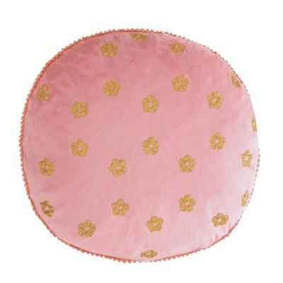 Himal Velvet Embroidered Round Pillow - Homthreads