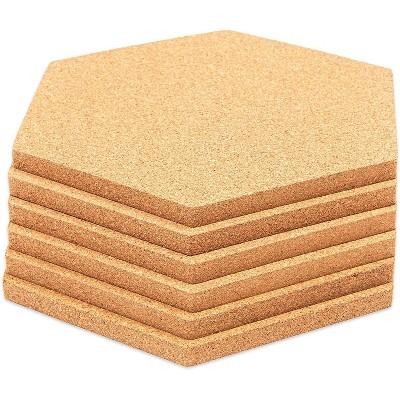 "Bright Creations 5.9 x 7"" Natural Hexagon Cork Board Tiles Bulletin Board for Wall Memo Board, 6 Pack"