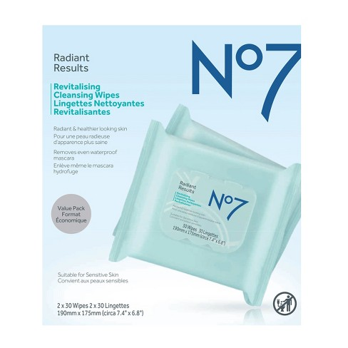 No7 Radiant Results Revitalising Cleansing Wipes Value Pack - 60ct - image 1 of 1