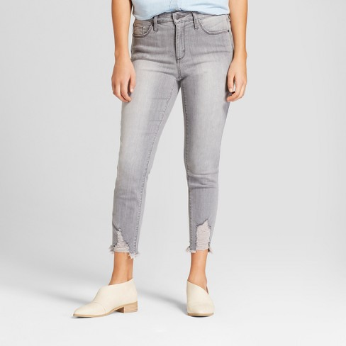 Women's High-Rise Destructed Hem Skinny Crop Jeans - Universal Thread™ Gray Wash - image 1 of 3