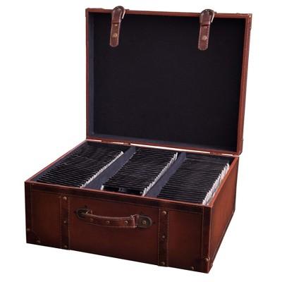 Vintiquewise Faux Leather Vintage Suitcase Style CD Case