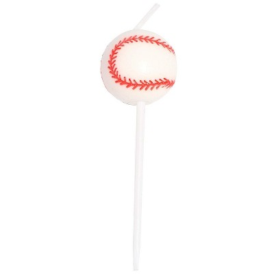 Blue Panda 36-Pack Baseball Shaped Cake Topper & Short Red Birthday Party Cake Candles 2.8-Inch