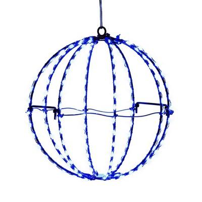 """Kurt Adler 8"""" Blue LED Foldable Metal Sphere"""