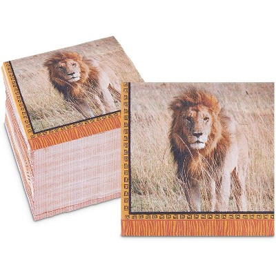 Sparkle and Bash 150 Pack Lion Animal Paper Luncheon Disposable Napkin Napkins, Jungle Safari Birthday Party Supplies