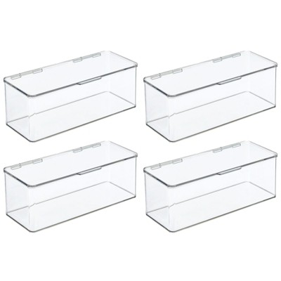 mDesign Plastic Stackable Closet Storage Bin Box with Lid, 4 Pack