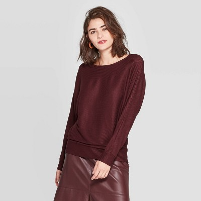 Women's Casual Fit Dolman Long Sleeve Boat Neck Rib Snit T Shirt   A New Day™ by A New Day