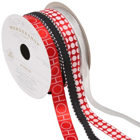 4ct Red/Silver/Black Fabric Ribbon 40ft - Wondershop™ - image 1 of 2