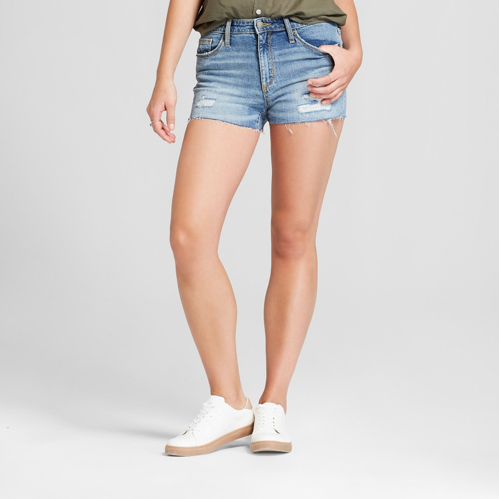Women's High-Rise Destructed Jean Shorts - Universal Thread Medium Wash 00, Blue