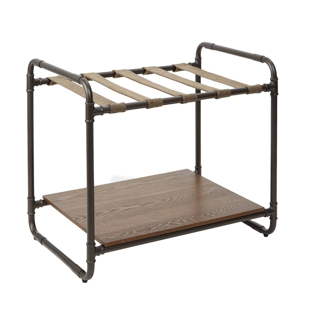 Image of Anderson Industrial Luggage Rack with Pipe Fittings Brown - Silverwood