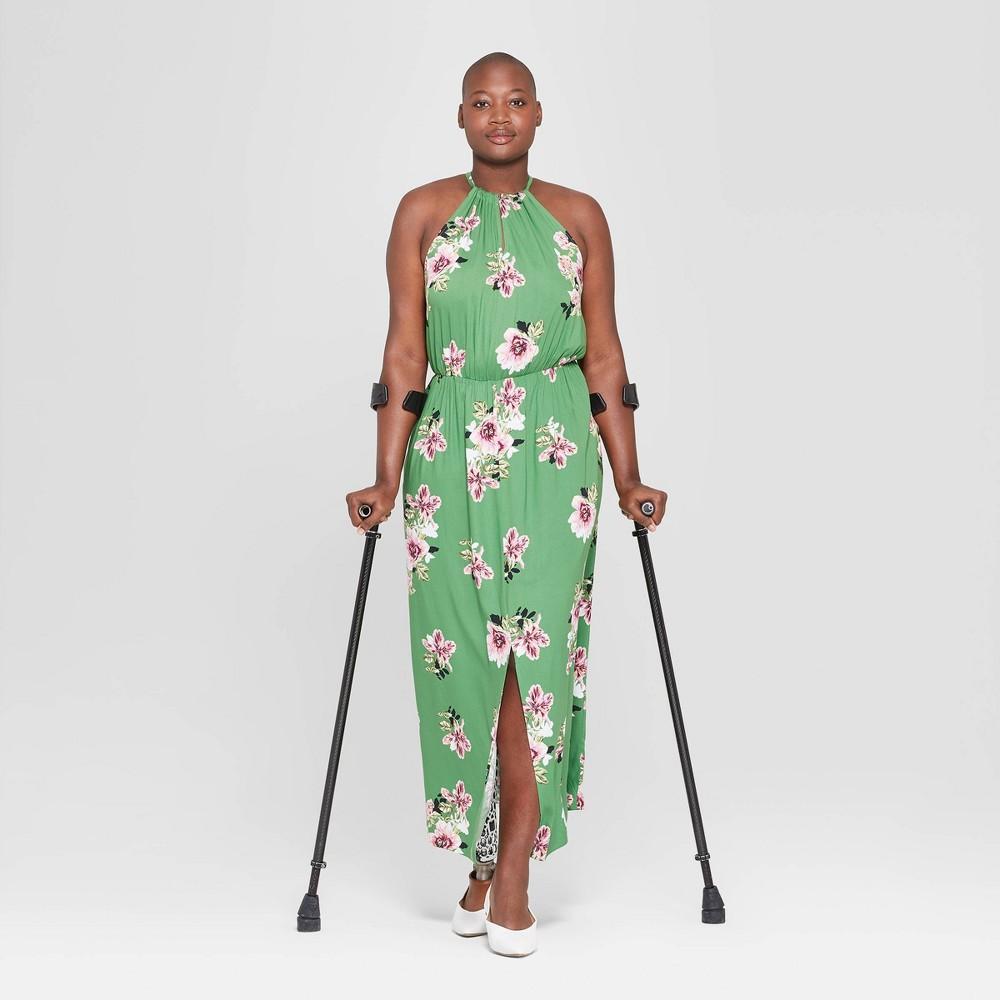 Women's Plus Size Floral Print Sleeveless Slit Maxi Dress - Ava & Viv Green 4X