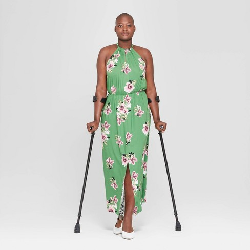 8ec758902a895 Women's Plus Size Floral Print Sleeveless Slit Maxi Dress - Ava & Viv™  Green : Target