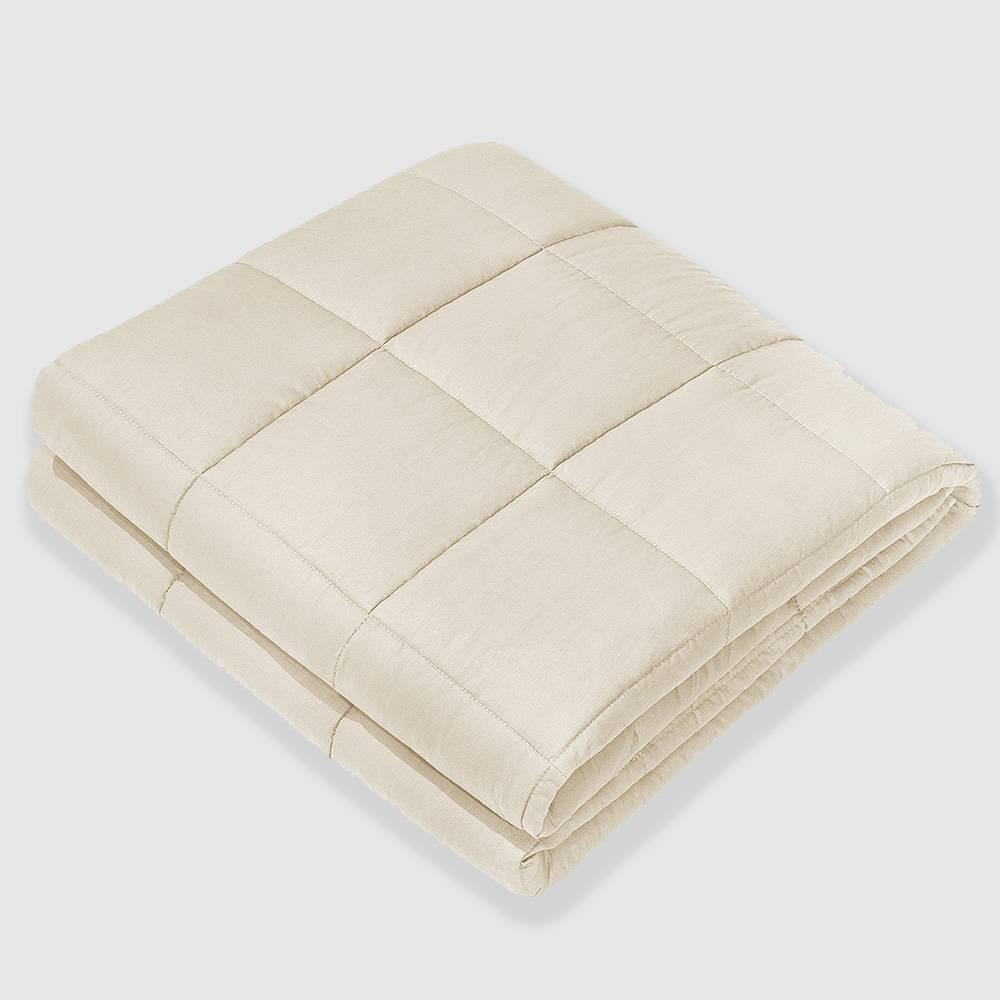 """Image of """"60"""""""" x 80"""""""" 100% Cotton Luxury 15lbs Weighted Blanket Beige - NEX"""""""