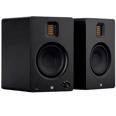 Monolith MM-5R Powered Multimedia Speakers Ribbon Tweeter - Black (Pair) With Bluetooth with aptX HD, USB DAC, Optical Inputs, Subwoofer Output