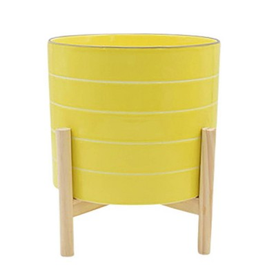 Striped Planter with Wood Stand - Sagebrook Home