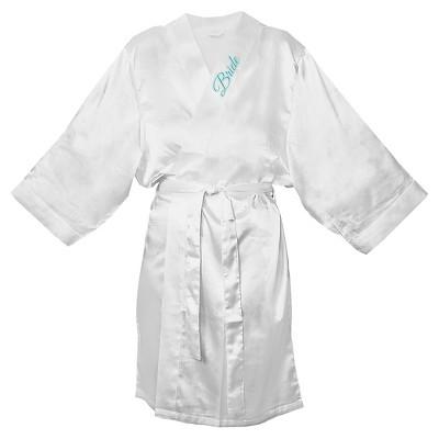 Women's Bride Satin White Robe - L/XL