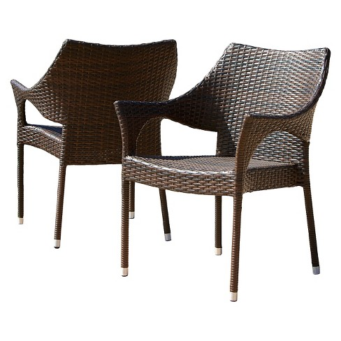 Cliff Set of 2 Wicker Patio Chairs - Multi-Brown - Christopher Knight Home - image 1 of 4