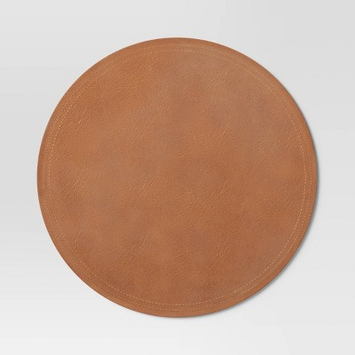 Faux Leather Decorative Charger Brown - Threshold™