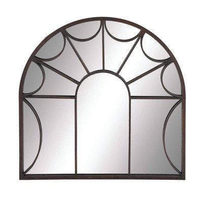 "35"" Modern Iron Arched Window Pane Wall Mirror Black - Olivia & May"