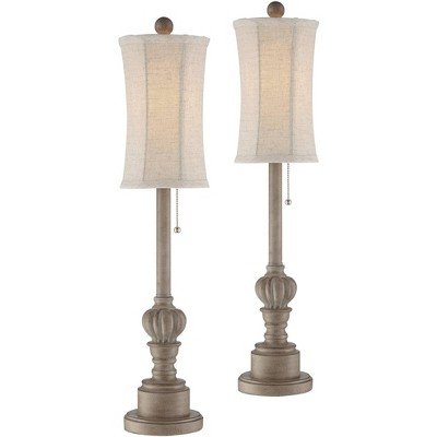Regency Hill Traditional Buffet Table Lamps Set of 2 Natural Candlestick Cream Bell Shade for Dining Room