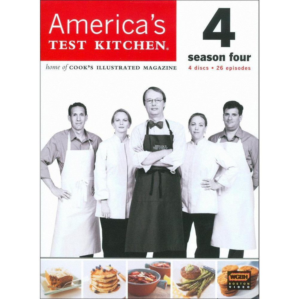 America's Test Kitchen Season 4 (Dvd) From the test kitchens of Cook's Illustrated magazine comes this straightforward cooking show for smart home chefs. Each episode offers sensible reviews of kitchen equipment and clear, insightful lessons on how to prepare everything from soups to steak. This season-four collection features 26 complete episodes, including  Salad 101,   The Pancake Show,   Summer Berry Desserts,   Holiday Pies,  and  Stir-Fry Made Easy.