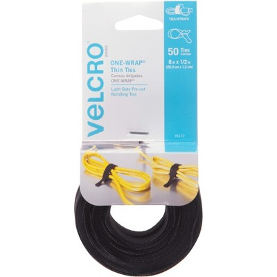 "Velcro One-Wrap Reusable Ties 1/2"" x 8"" Black 50/Pack 95172"