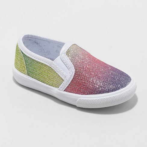 46ccb0ccbb60 Toddler Girls' Valtera Rainbow Sneakers - Cat & Jack™ Silver : Target