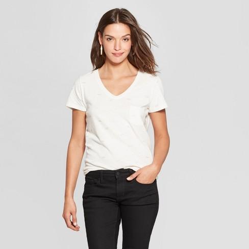 b7df3160ec Women's Bow Print Monterey Pocket V-Neck Short Sleeve T-Shirt - Universal  Thread™