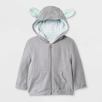 Baby Boys' Gauze Bunny Hoodie - Cat & Jack™ Gray 0-3M