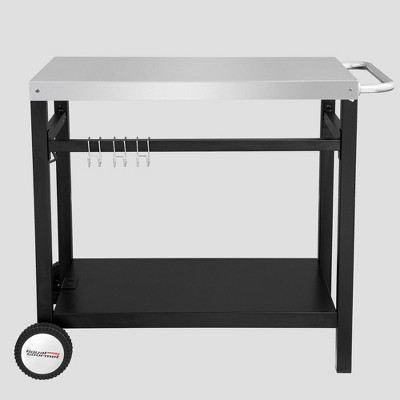 34'' x 20'' Double Shelf Movable Patio Console Table with Handle/Outdoor Kitchen Prep Trolley with Storage - Royal Gourmet