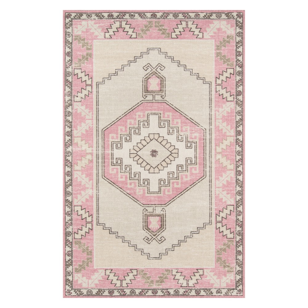 2'X3' Medallion Loomed Accent Rug Pink - Momeni