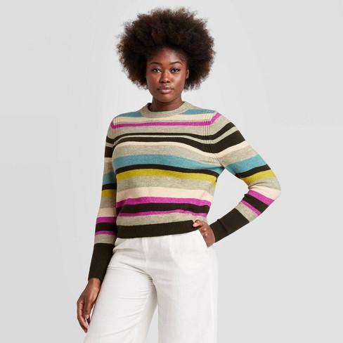 Women's Striped Crewneck Pullover Sweater A New Day™ BluePurpleBlack XS