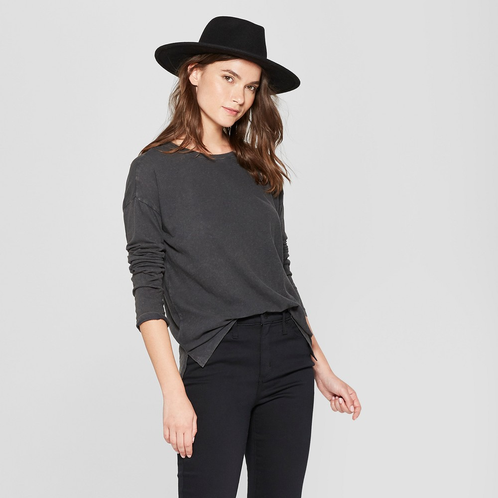 Women's Drop Shoulder Long Sleeve T-Shirt - Universal Thread Gray XS