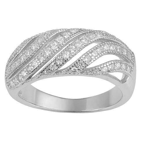 3/5 CT. T.W. Round-Cut CZ Pave Set Cut-out Ring in Sterling Silver - image 1 of 2