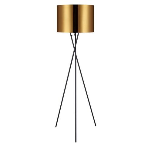 "Versanora - Cara 62.2"" Tripod Floor Lamp with Gold Shade - image 1 of 4"