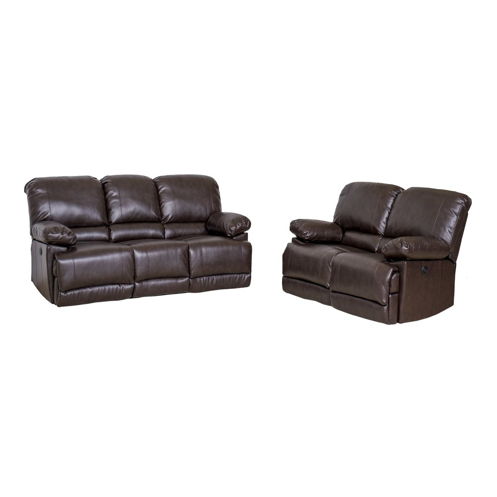 Leather Power Recliner 2pc Sofa and Chair Set Chocolate Brown - CorLiving