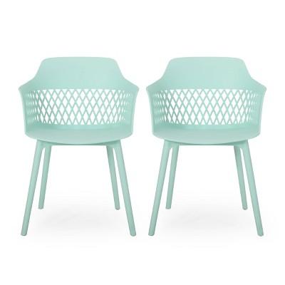 Azalea 2pk Resin Modern Dining Chair - Mint - Christopher Knight Home