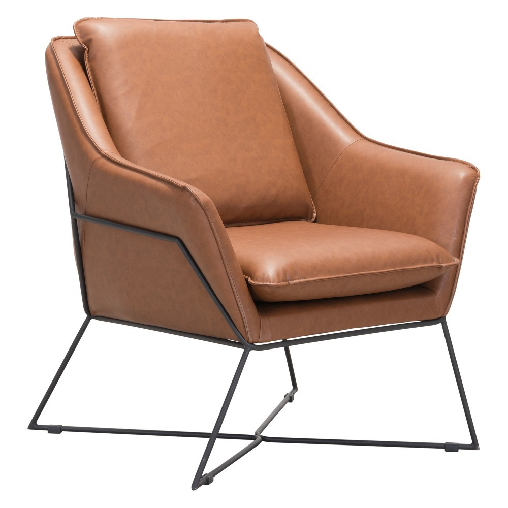 Mid-Century Modern Lounge Chair Saddle - ZM Home