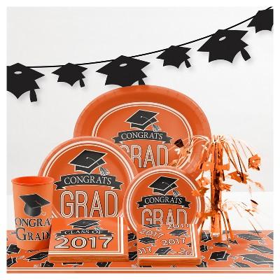 Graduation School Spirit Orange Party Supplies Collection