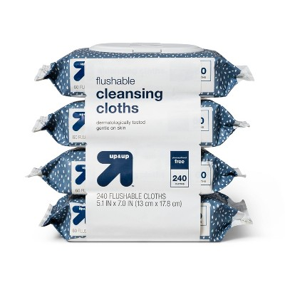 Flushable Cleansing Cloths Fragrance Free - 240ct - up & up™