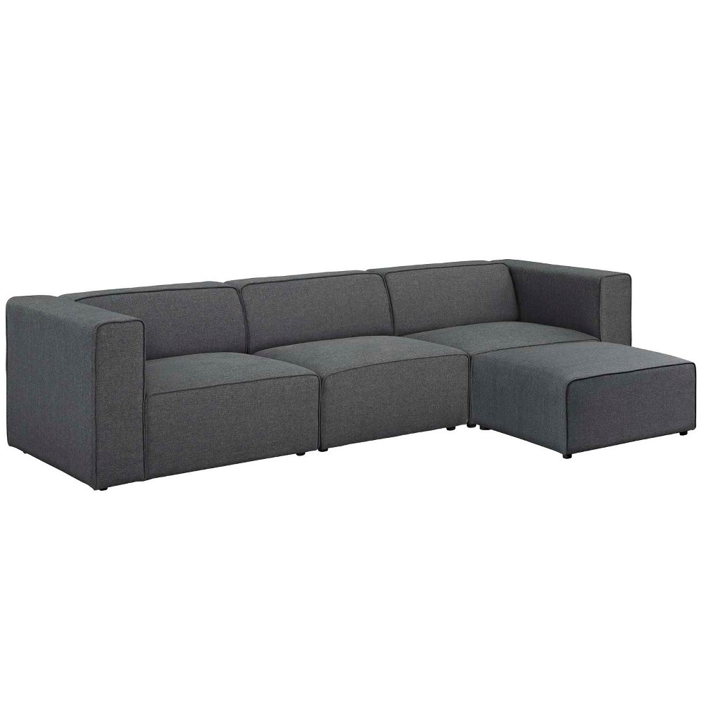 Mingle 4pc Upholstered Fabric Sectional Sofa Set Gray - Modway