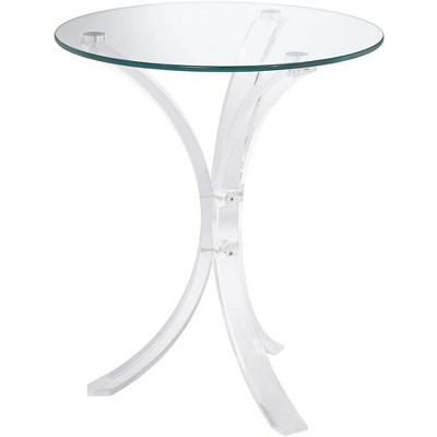 """Studio 55D Felicity 18"""" Wide Glass and Clear Acrylic Round Accent Table"""