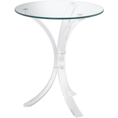 """Studio 55D Felicity 18"""" Wide Glass and Clear Acrylic Round Accent Table - image 1 of 4"""