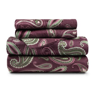 Warm and Cozy Cotton Flannel Paisley Deep Pocket Sheet Set - Blue Nile Mills